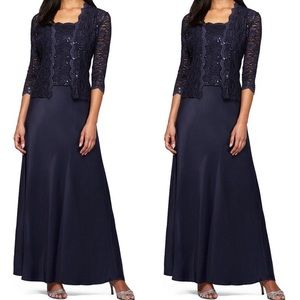 Navy long sleeve gown